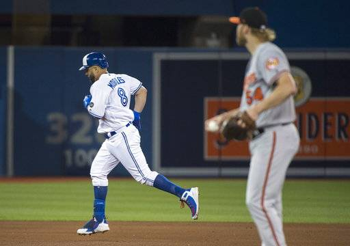 Toronto Blue Jays designated hitter Kendrys Morales (8) round the bases past Baltimore Orioles starting pitcher Andrew Cashner (54) after hitting a three run home run during fifth inning baseball action in Toronto on Monday, Aug. 20, 2018. (Nathan Denette/The Canadian Press via AP)