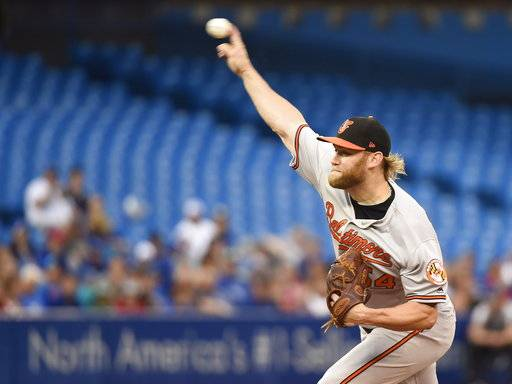 Baltimore Orioles starting pitcher Andrew Cashner (54) throws against the Toronto Blue Jays during first inning baseball action in Toronto on Monday, Aug. 20, 2018. (Nathan Denette/The Canadian Press via AP)