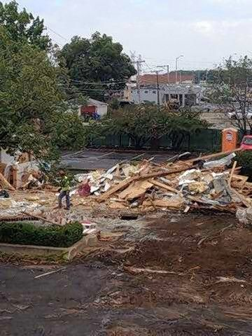 A pile of debris remained after demolition of the 33-year-old replica McDonald's restaurant at 400 Lee St. in Des Plaines.