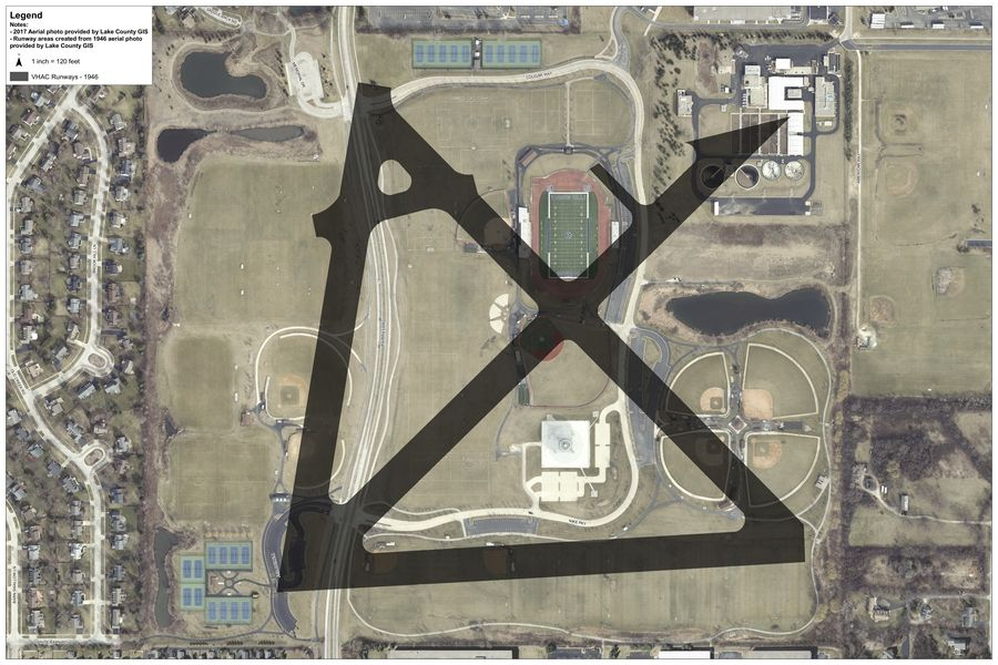 An overlay of old runways over the current landscape near Rustoleum Field at Vernon Hills High School. The area was used for pilot training during WWII.