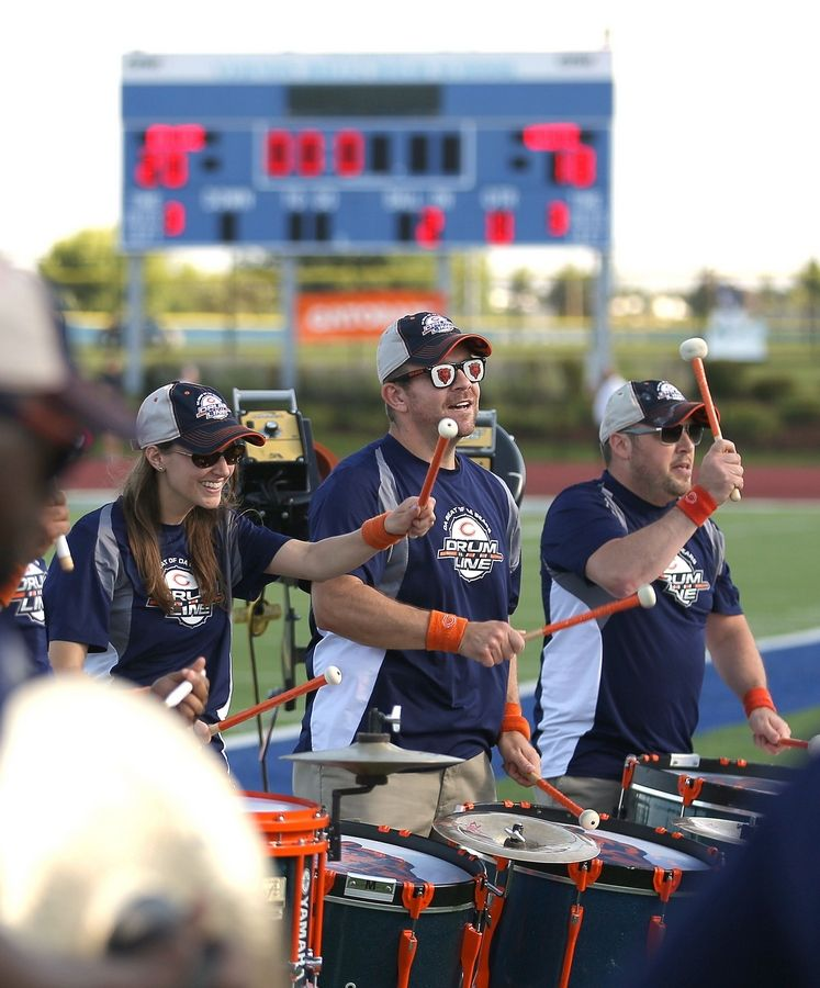 The Chicago Bears Drumline entertains the crowd as the Chicago Bears hold a practice at Vernon Hills High School's Rust-Oleum Field Wednesday evening.