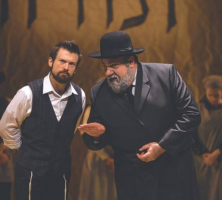 "Playing Mendl in the off-Broadway production of a Yiddish adaptation of ""Fiddler on the Roof"" breaks new ground for Glen Ellyn native James Monroe Števko, left. A ""band geek"" in high school, Števko has worked for a decade as a professional dancer and now is broadening his skills."