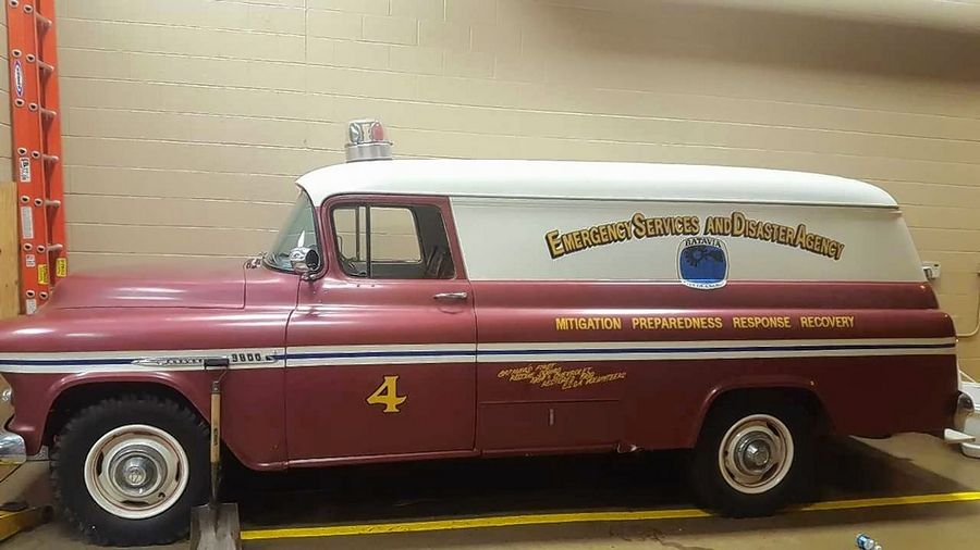 The Batavia Fire Department is going to sell this 1955½ Chevrolet panel truck, which was the department's first rescue truck. It was later used by the Emergency Services and Disaster Agency.