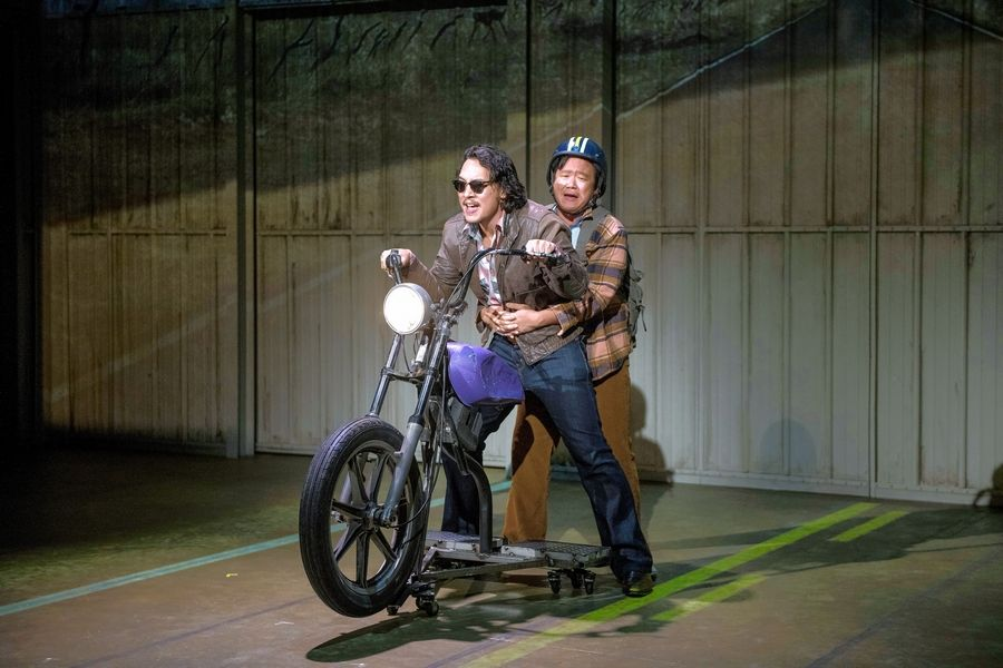 "Quang (Matthew C. Yee), left, and best friend Nhan (Rammel Chan) take a road trip across America in Qui Nguyen's romantic, irreverent ""Vietgone"" at Glencoe's Writers Theatre."