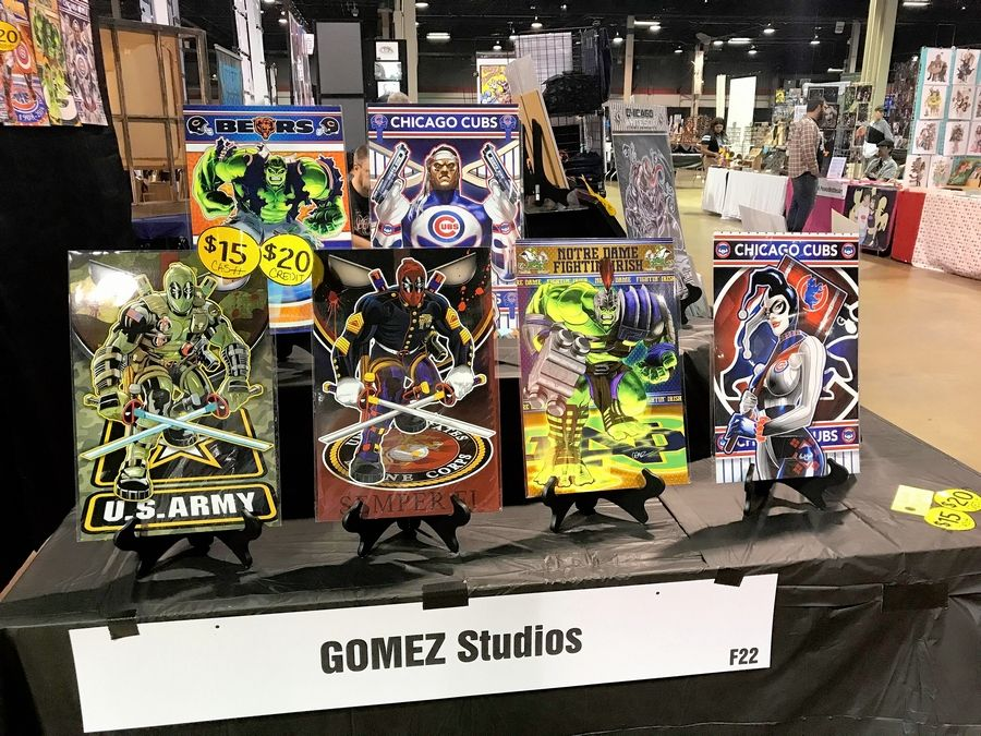 GOMEZ Studios of Chicago creates prints combining comic book characters with sports teams and military organizations, as seen this weekend at Wizard World Chicago in Rosemont.