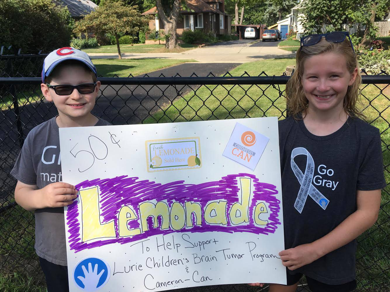 With lemonade, Lombard girl helps twin brother, others who have brain cancer