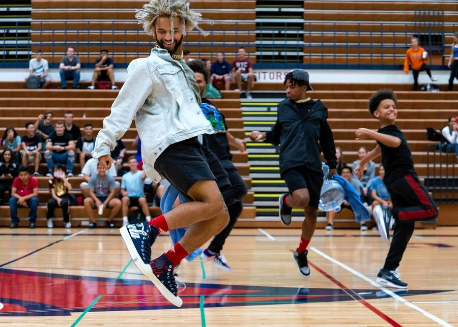 Members of the dance group The Future Kingz perform at James B. Conant High School.