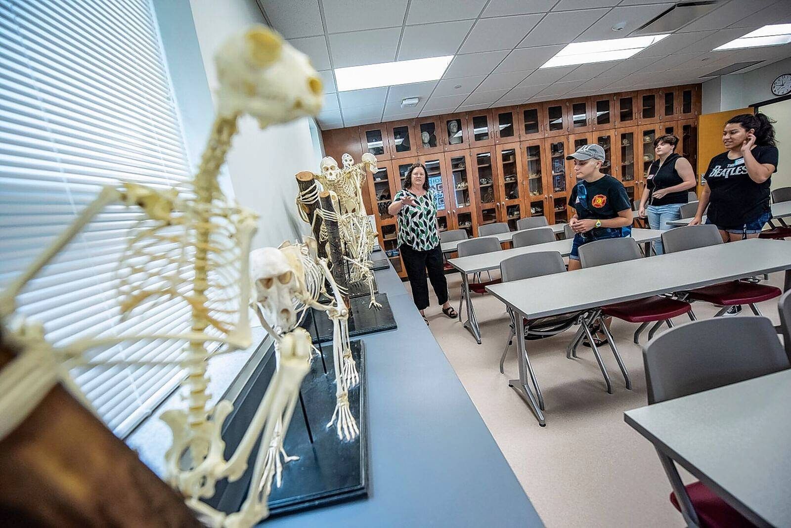 Northern Illinois University students check out the renovated Stevens Building, home to the School of Theatre and Dance and the anthropology department.