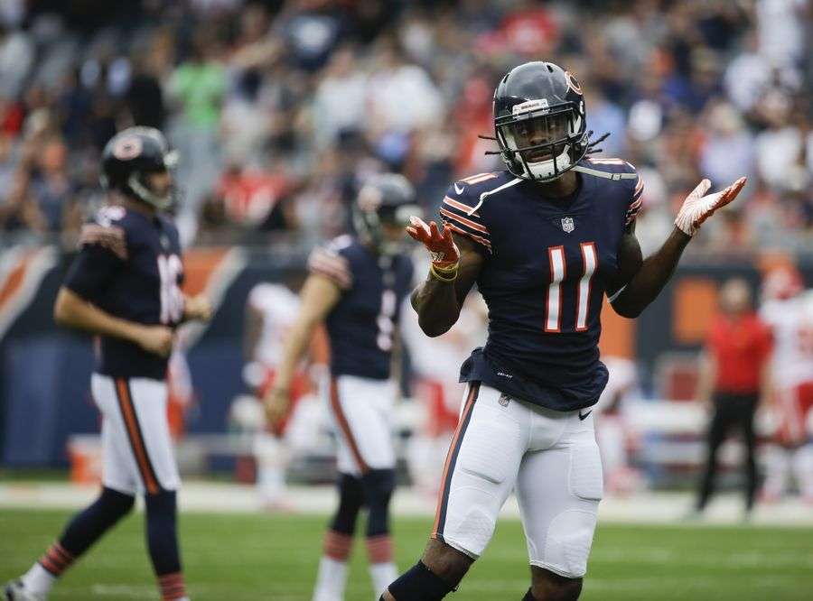 eebda933e2f Chicago Bears' Kevin White celebrates his touchdown catch during the first  half of a preseason