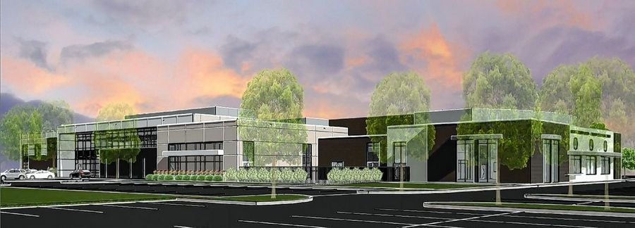 A sketch shows the Arlington Heights Park District's proposed $16.9 million expansion of the Olympic Indoor Swim Center. It includes a new gymnasium, a warm water pool and a fitness area.
