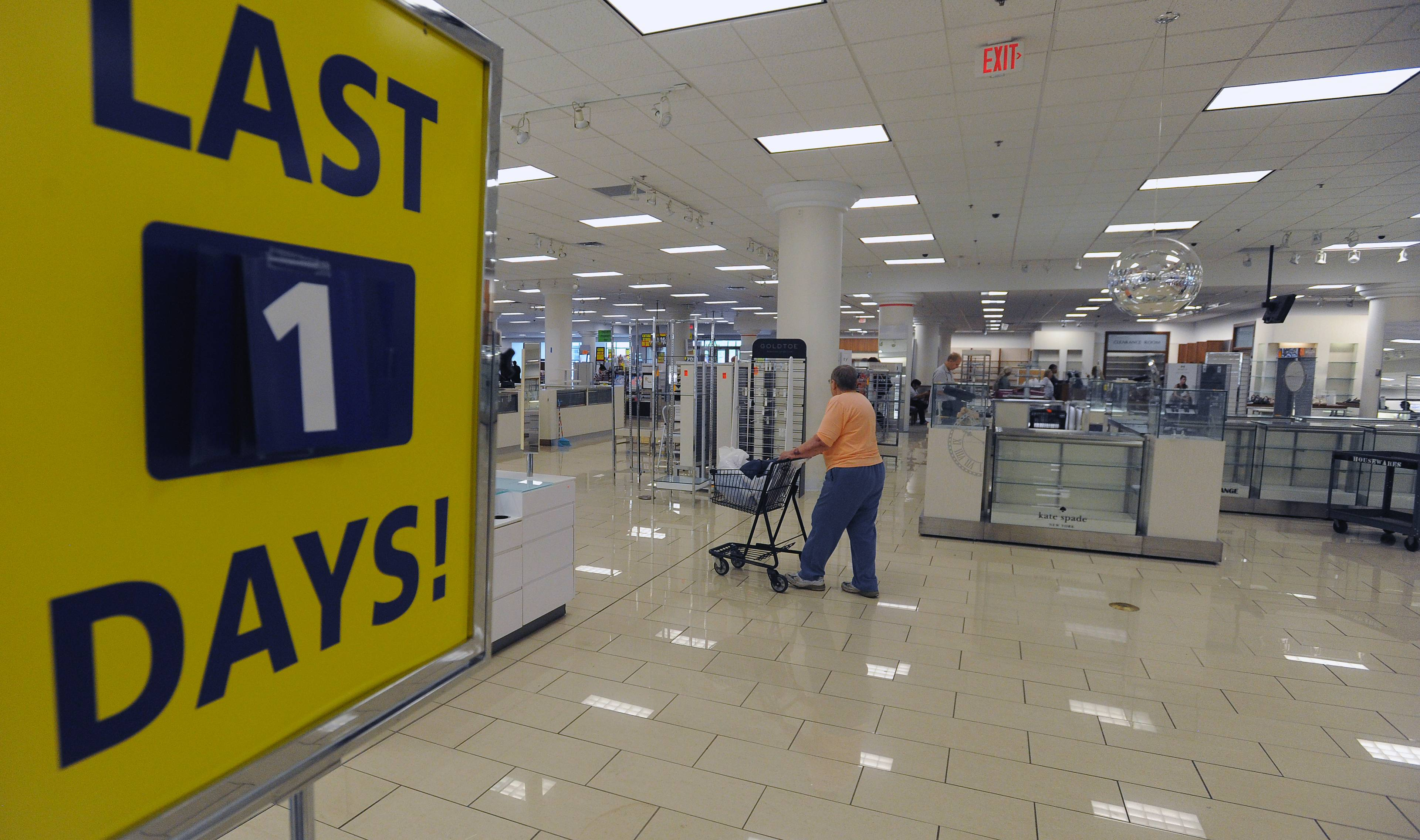 The signs around the store say it all on the last day for the Carson's Pirie Scott store at Randhurst Mall in Mount Prospect.