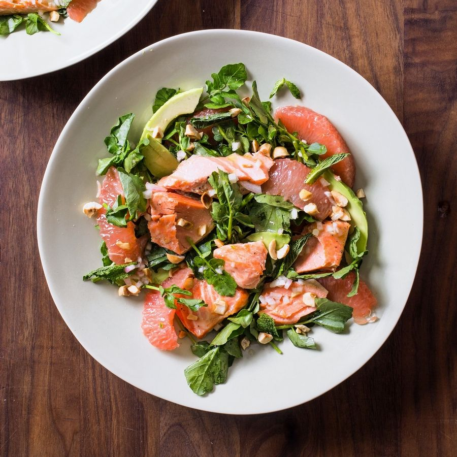 "The recipe for salmon, avocado, grapefruit and watercress salad appears in the cookbook ""Dinner Illustrated."""