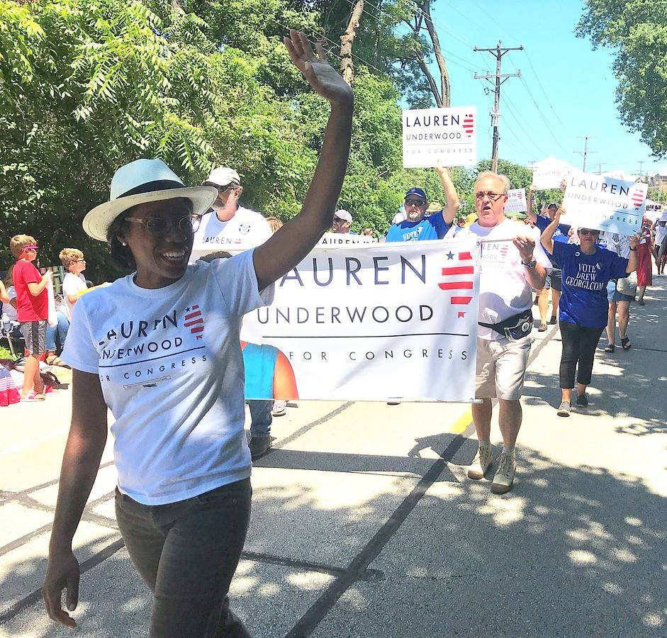 Lauren Underwood, candidate for Congress from the 14th District, shown here in the Crystal Lake Independence Day Parade, will be a featured speaker at the Celebrate Labor Day event in Woodstock.