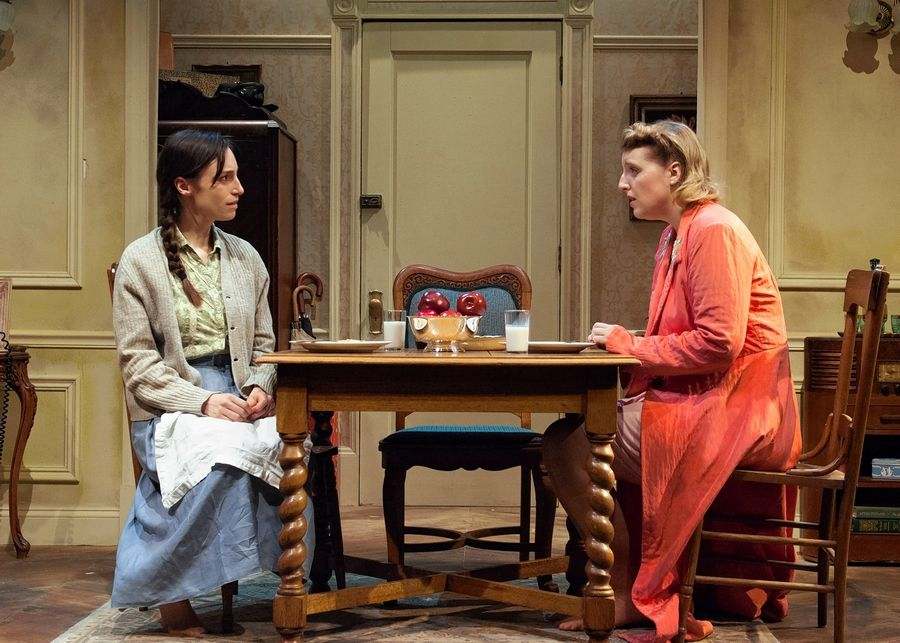 "Emily Berman, left, and Bri Sudia play sisters who try to reconnect after the Holocaust in TimeLine Theatre Company's revival of ""A Shayna Maidel."""