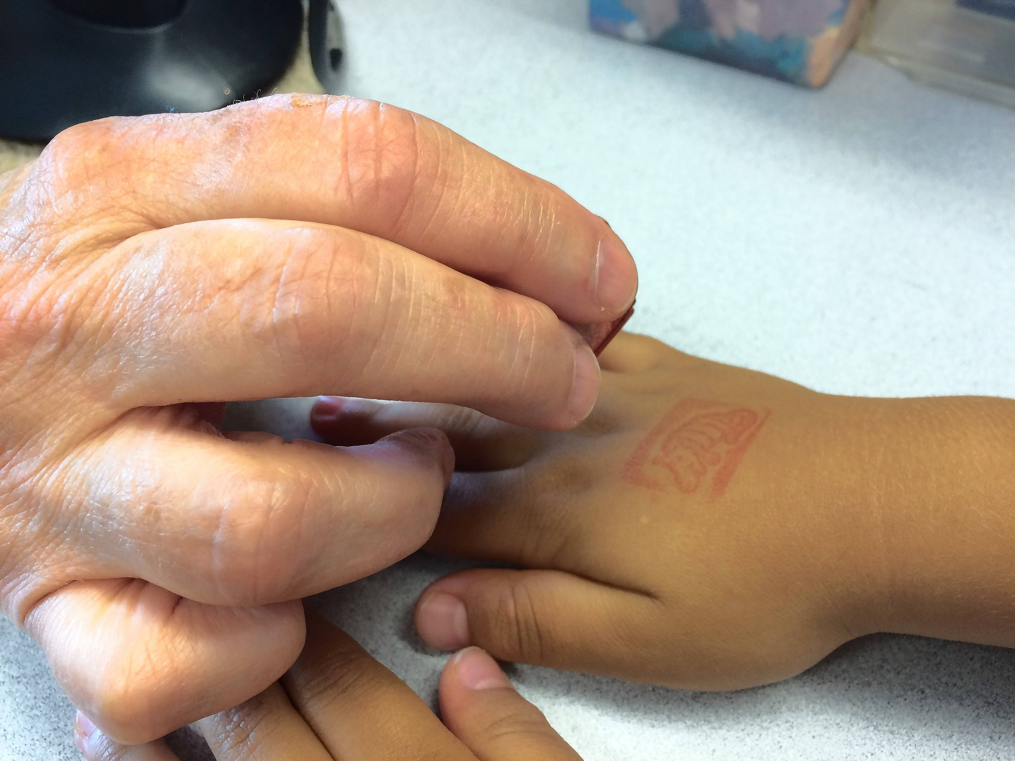 Young visitors to the Cook Memorial Public Library District bookmobile get a special stamp on their hands.