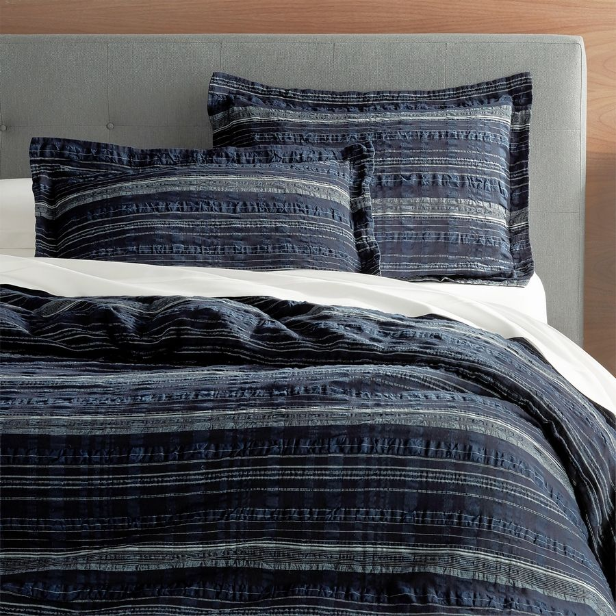 This Nagano collection at Crate & Barrel features lightweight cotton and linen voile bedding in an interesting textural navy and white stitched pattern. Referencing early 20th century Japanese folk art as well as Scandinavian sensibilities, it's part of a growing trend toward mixing not only materials, but eras, to create contemporary looks.