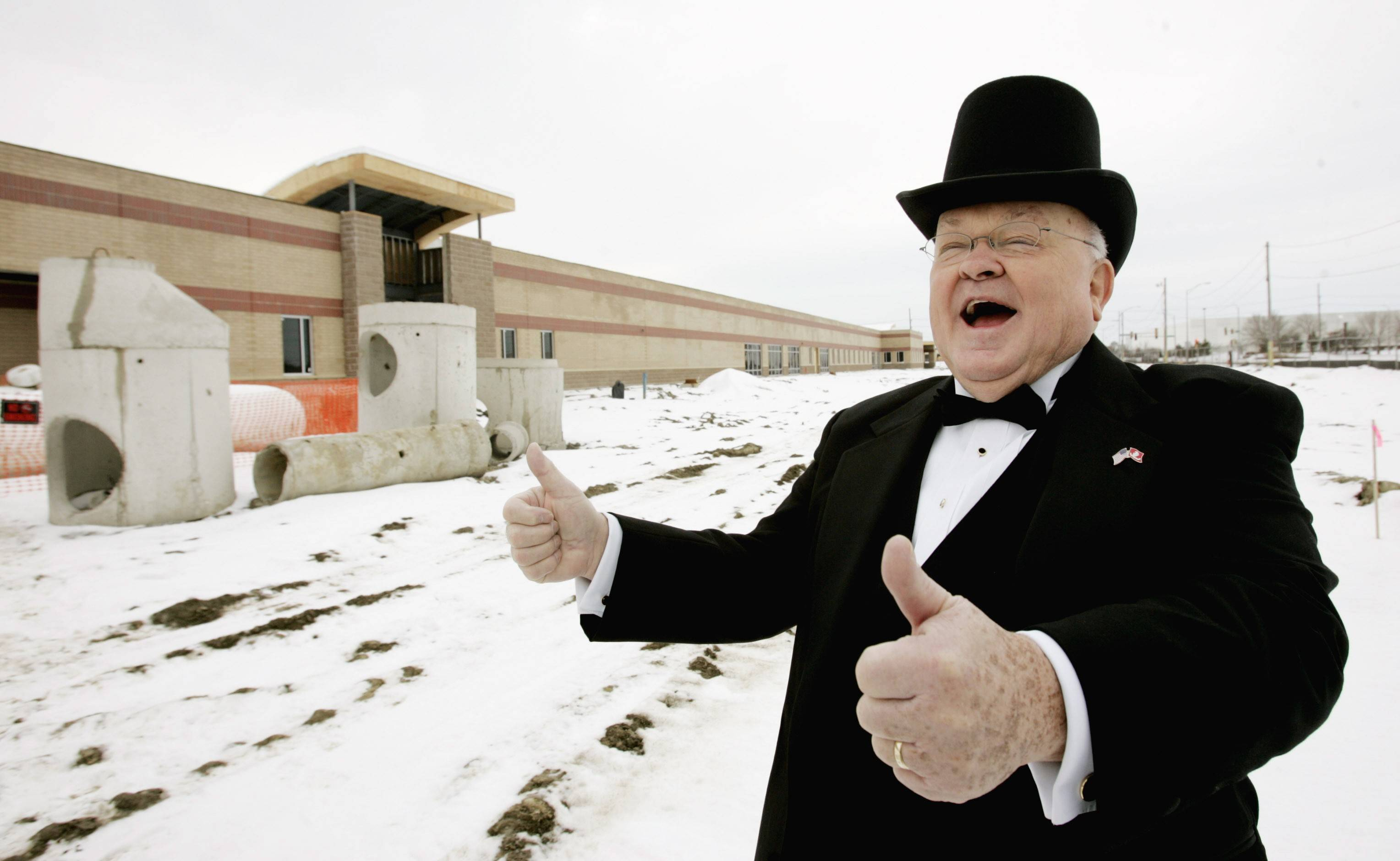 Daily Herald file photoPradel dons a top hat and tails to show off Naperville's public works facility.