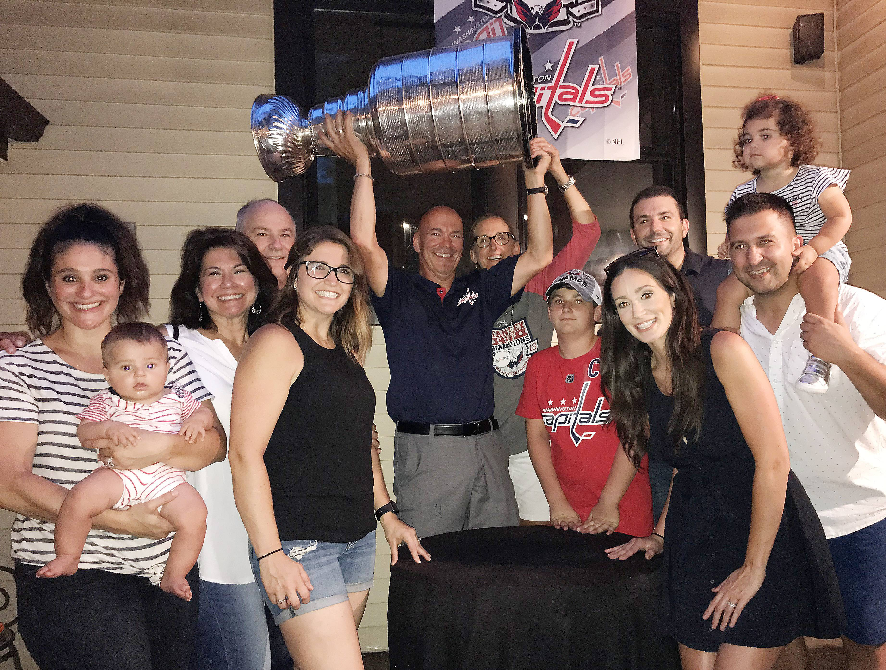 Washington Capitals director of player development Steve Richmond welcomed family and friends to enjoy a day with the Stanley Cup Tuesday in the suburbs.