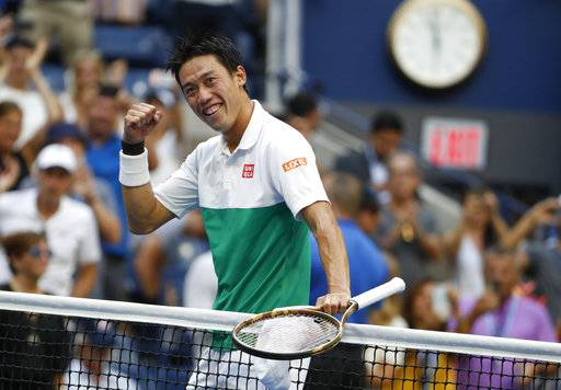 Kei Nishikori, of Japan, celebrates after defeating Marin Cilic, of Croatia, during the quarterfinals of the U.S. Open tennis tournament, Wednesday, Sept. 5, 2018, in New York.