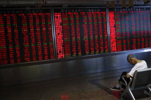 A man takes a nap in front of an electronic board displaying stock prices at a brokerage house in Beijing, Thursday, Sept. 6, 2018. Asian markets are mixed on fears that the U.S. would soon impose tariffs on another $200 billion of Chinese goods, as public consultations draw to a close.