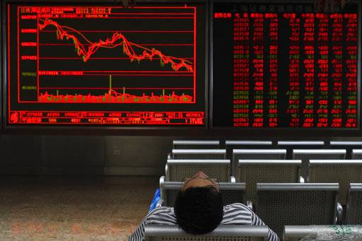 A Chinese investor sits in front of an electronic board displaying stock prices at a brokerage house in Beijing, Thursday, Sept. 6, 2018. Asian markets are mixed on fears that the U.S. would soon impose tariffs on another $200 billion of Chinese goods, as public consultations draw to a close.