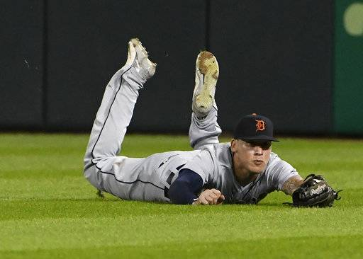 Detroit Tigers center fielder JaCoby Jones makes the catch on a ball hit by Chicago White Sox's Ryan Cordell during the sixth inning of a baseball game Wednesday, Sept. 5, 2018, in Chicago.
