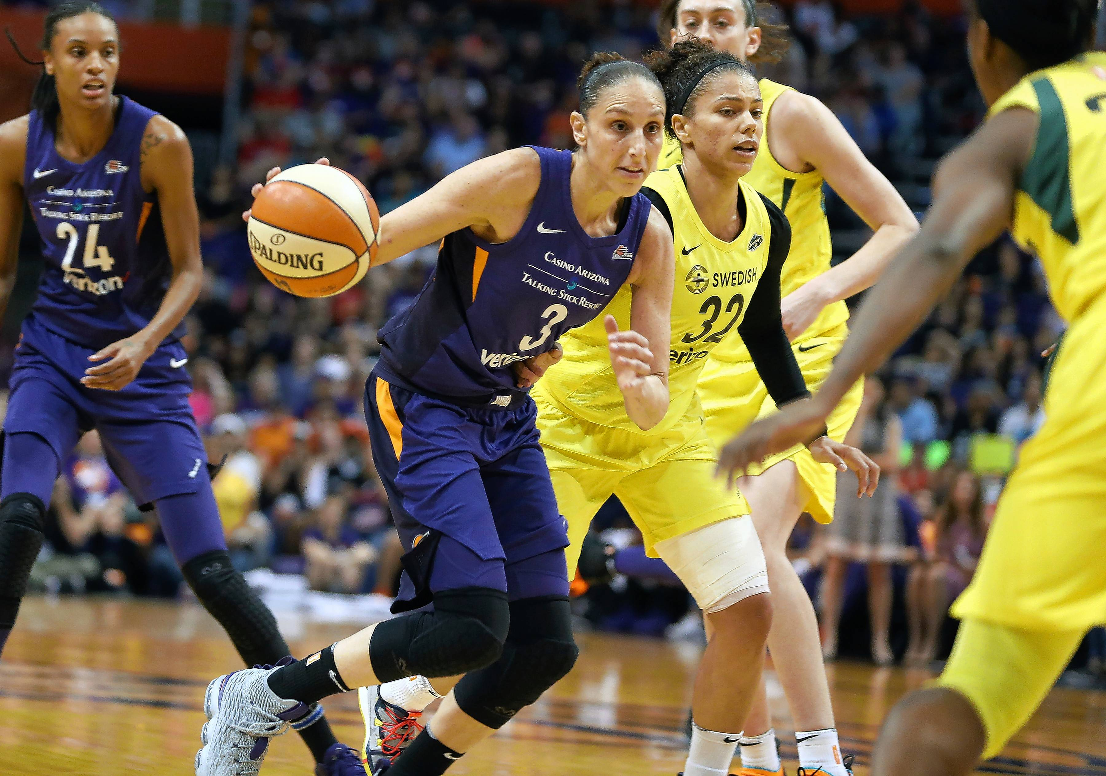 Phoenix Mercury forward Diana Taurasi (3) drives to the basket against the Seattle Storm during the first half of Game 4 of a WNBA basketball playoff semifinal, Sunday, Sept. 2, 2018, in Phoenix.