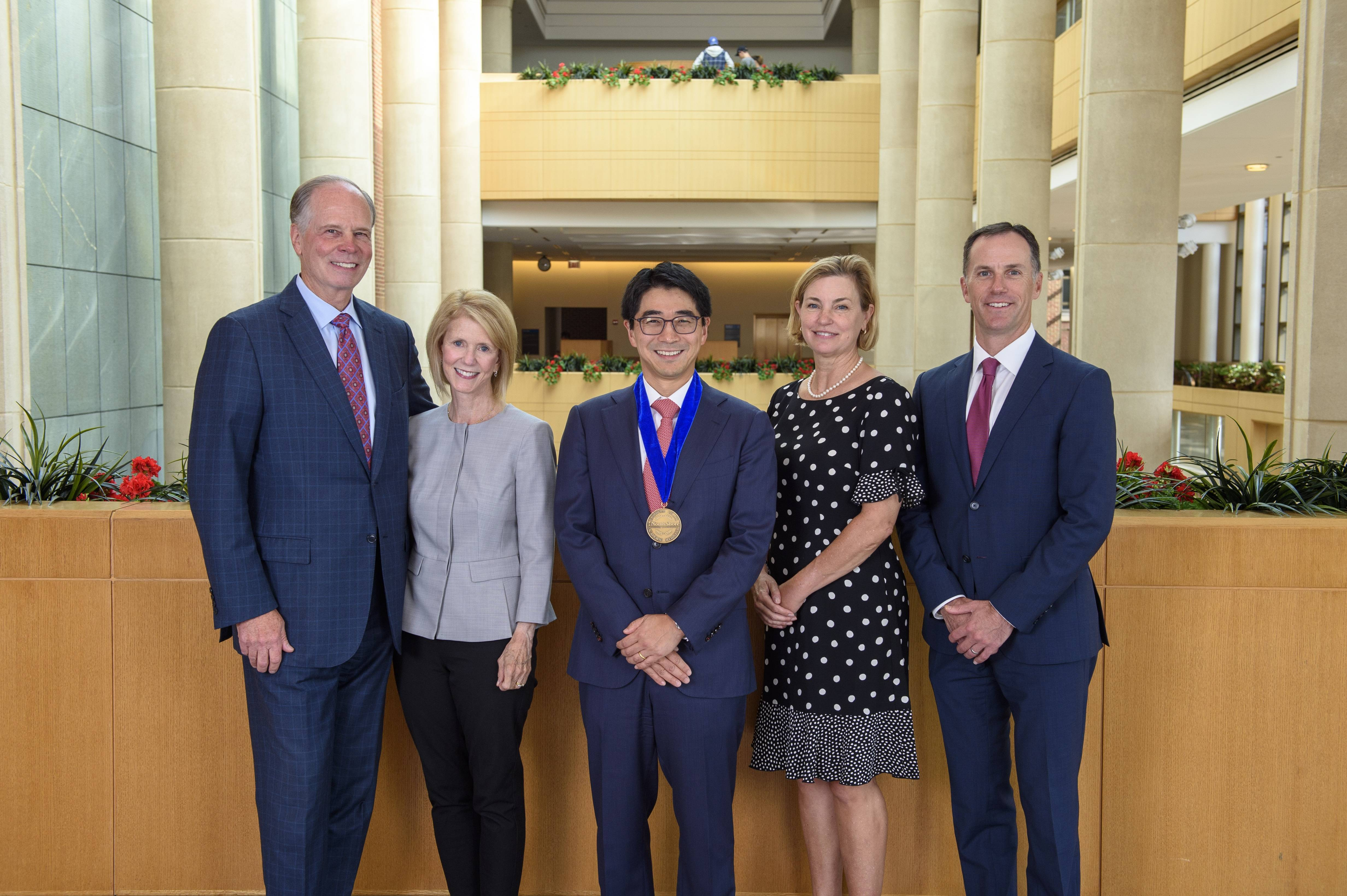 (From left) Mark Neaman, Susan Neaman, Dr. Jason Koh, Laura Koh, and NorthShore President and CEO J.P. Gallagher.