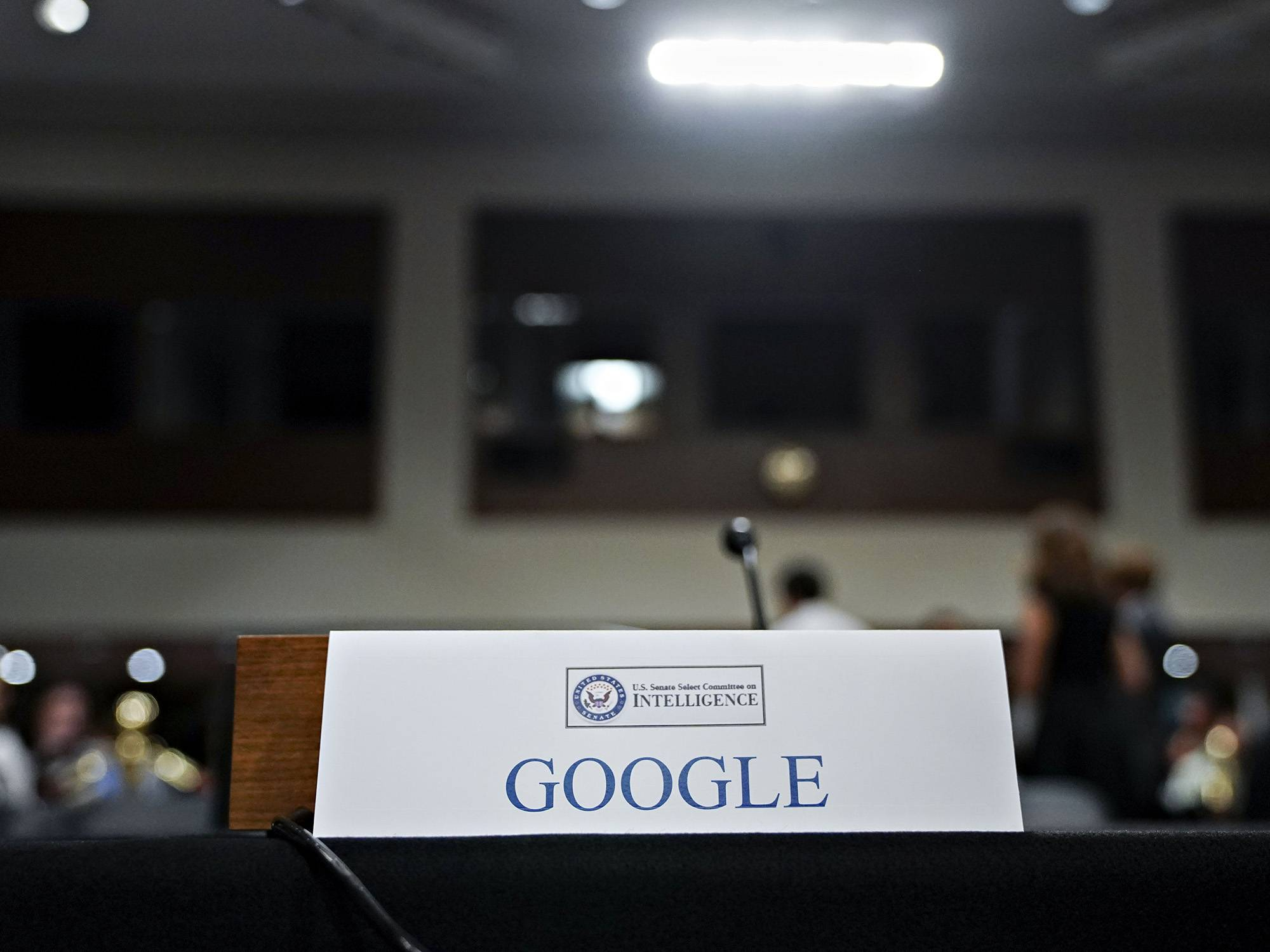 A Google placard sits on the witness table before a Senate Intelligence Committee hearing in Washington on Sept. 5, 2018.