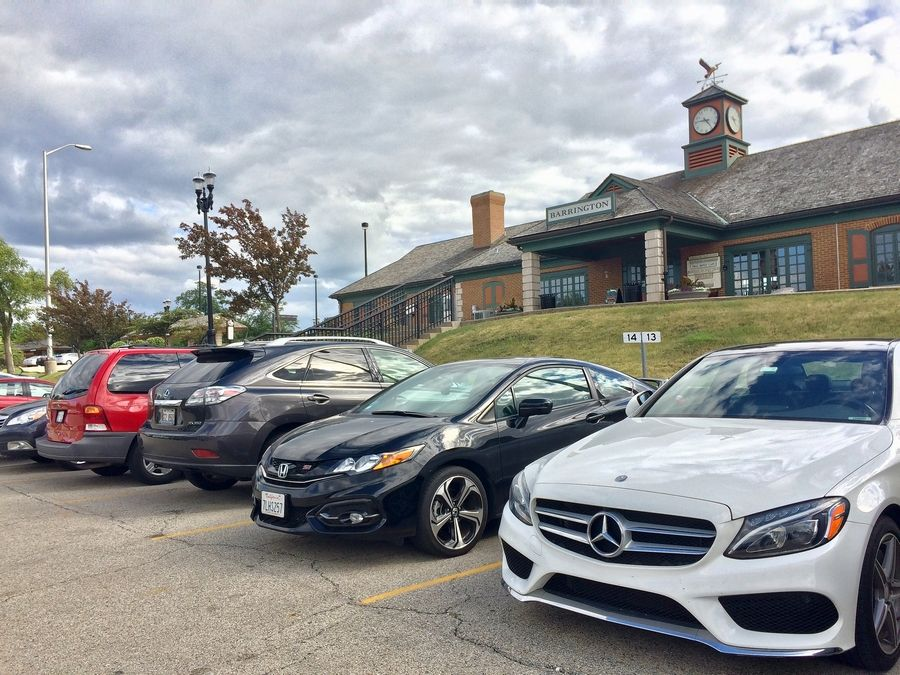 An advisory question will ask Barrington voters if local residents should get preferential parking in the town's commuter lots, such as this one near the Metra station.