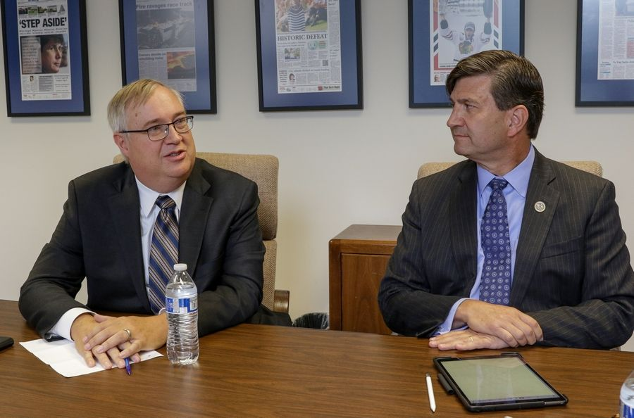 Doug Bennett, left, and Brad Schneider, right, talked about impeachment and other issues in a joint endorsement interview with the Daily Herald.