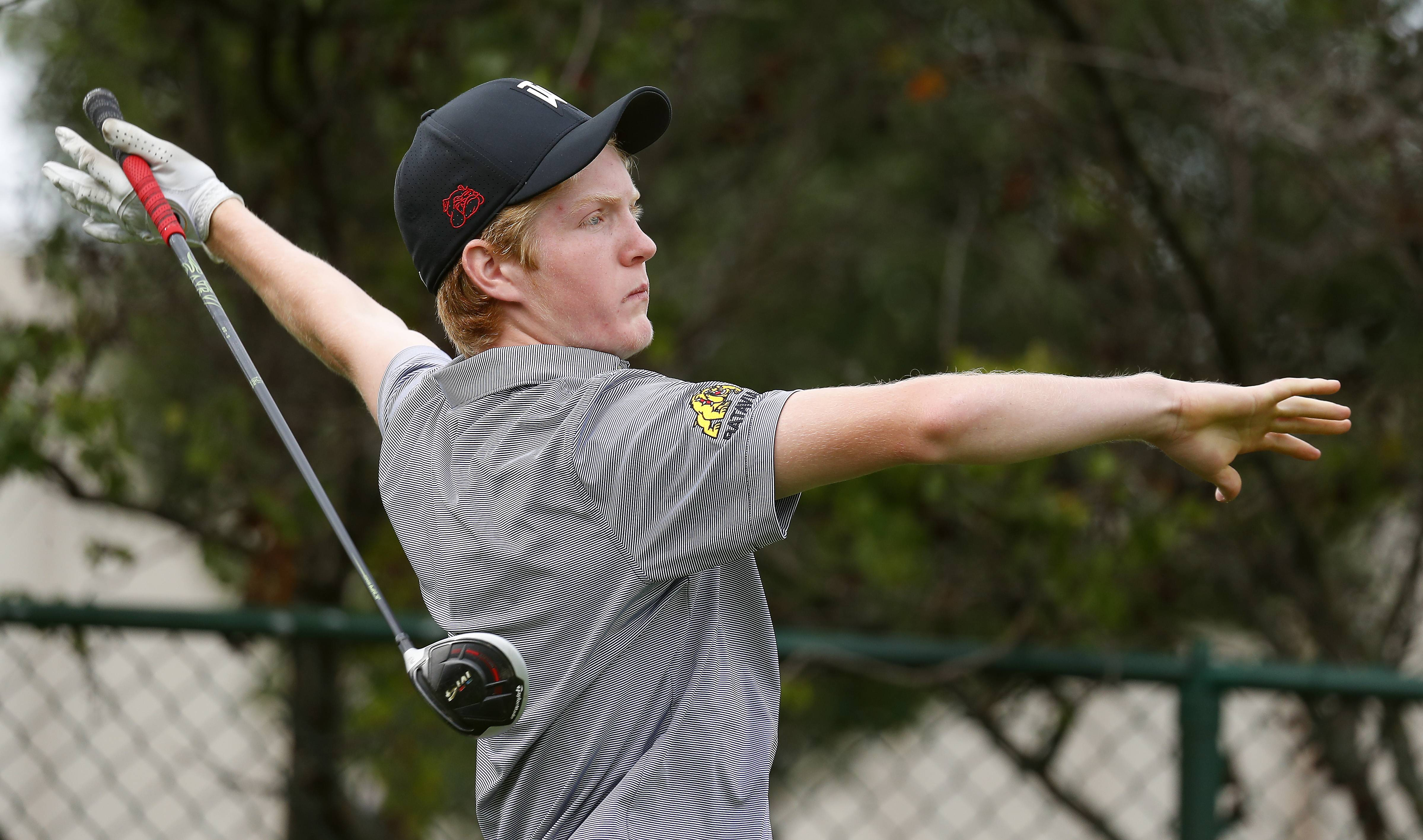 Batavia's Will Huber Saturday during golf at Pheasant Run Golf Course in St. Charles.