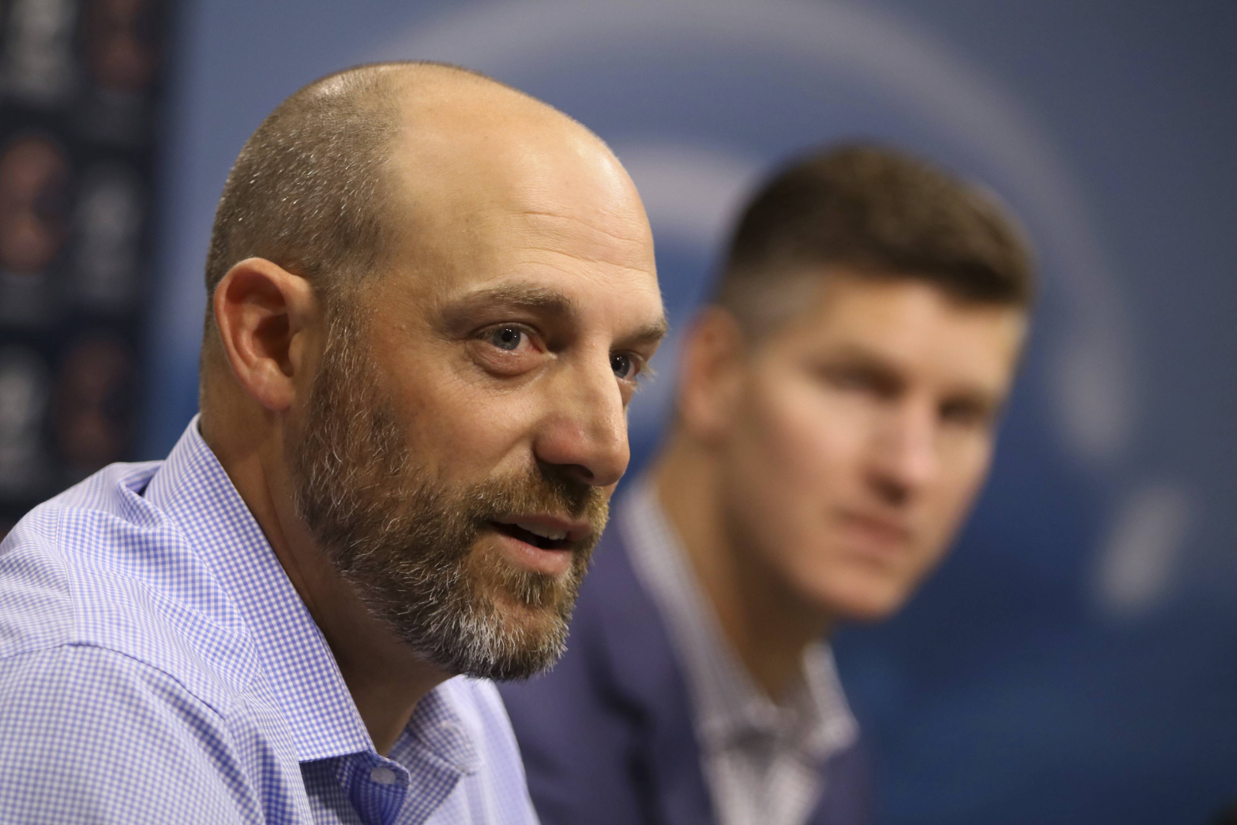 Chicago Bears head coach Matt Nagy, left, speaks to the media as general manager Ryan Pace looks on during an NFL football news conference Sunday, Sept. 2, 2018, at Halas Hall in Lake Forest, Ill. (Tim Boyle/Chicago Sun-Times via AP)