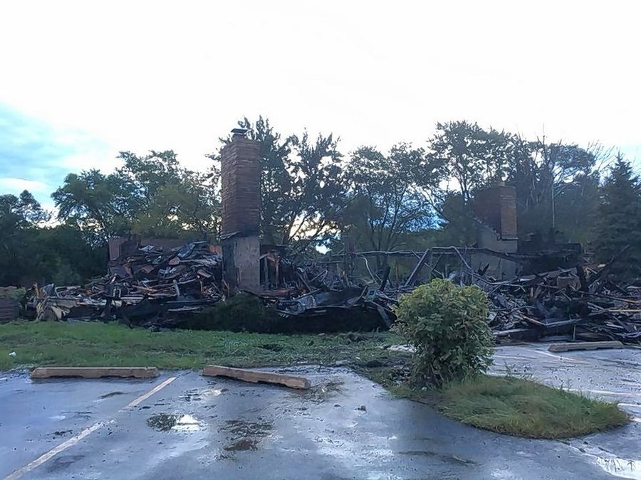 A suburban dining institution for nearly five decades was left in ruins after an overnight fire Sunday gutted the former Hackney's restaurant in Lake Zurich.