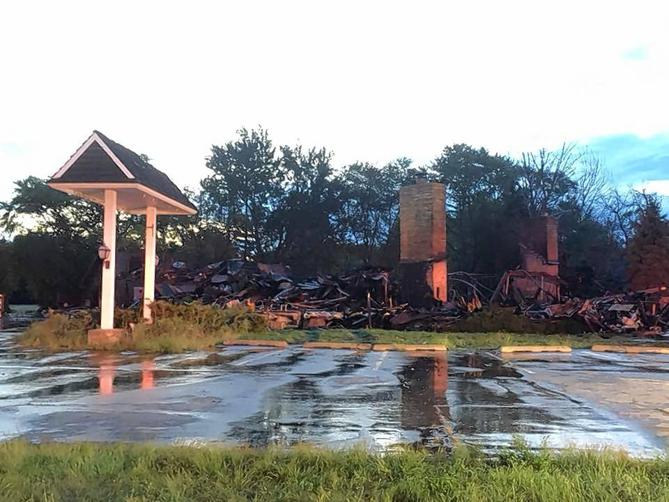 Little remains of the former Hackney's restaurant in Lake Zurich after an overnight fire Sunday gutted the shuttered eatery.