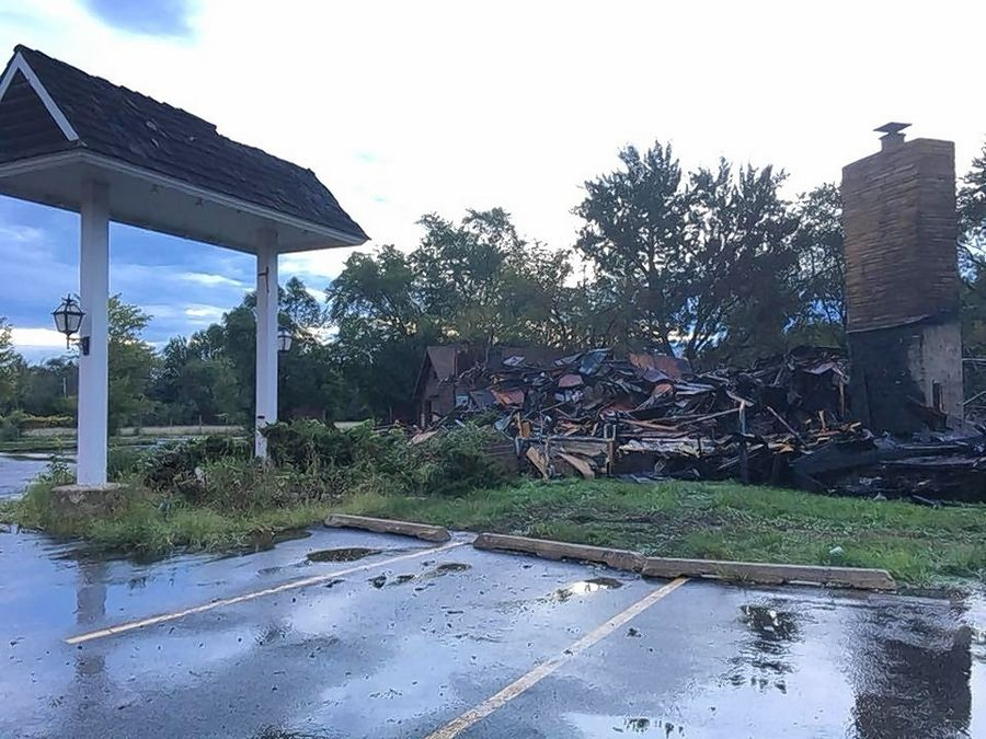 Charred rubble is all that remains of the former Hackney's restaurant in Lake Zurich after an overnight fire Sunday.