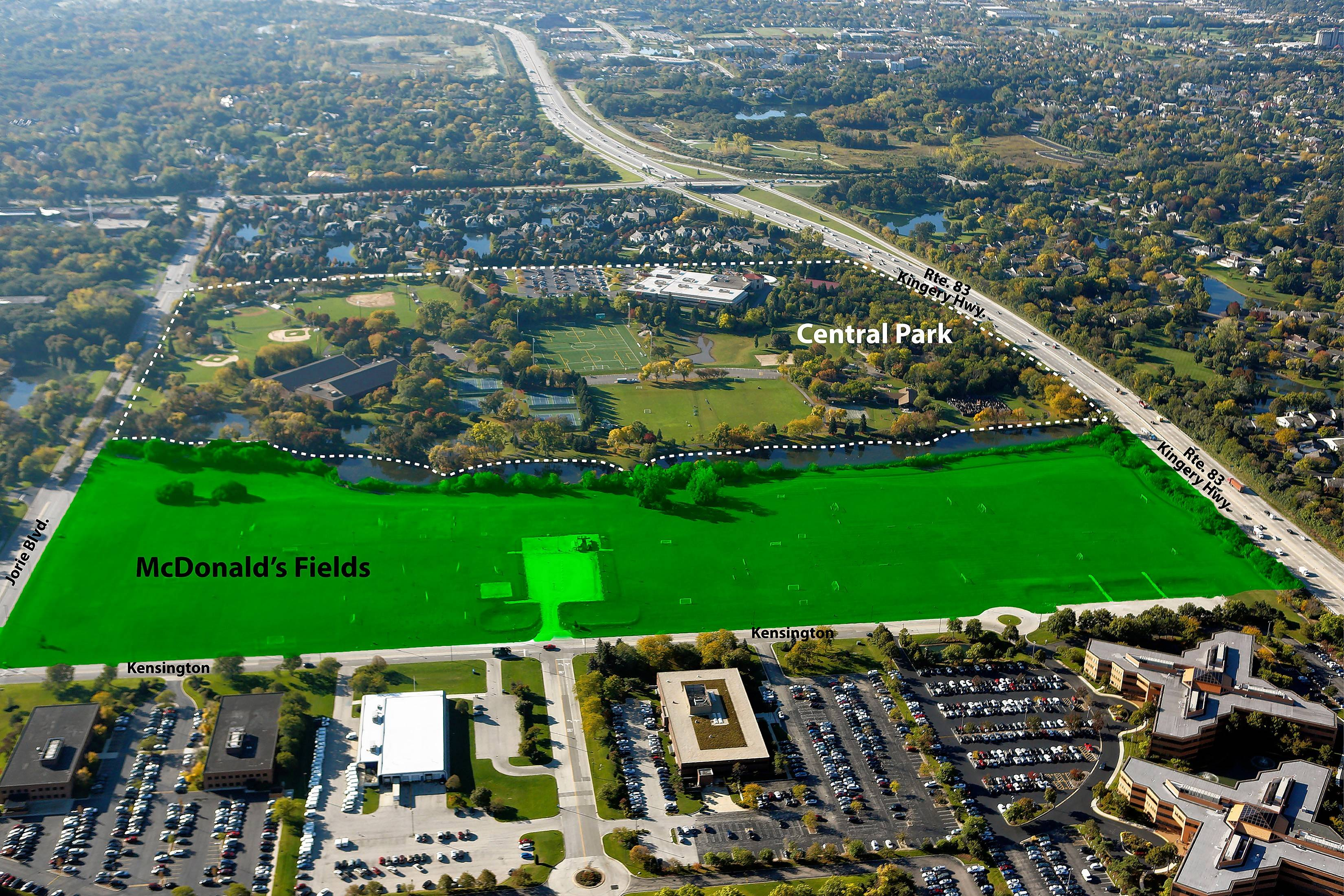 Oak Brook Park District is seeking permission from voters to borrow $17.9 million to buy roughly 34 acres known as the McDonald's Soccer Fields.