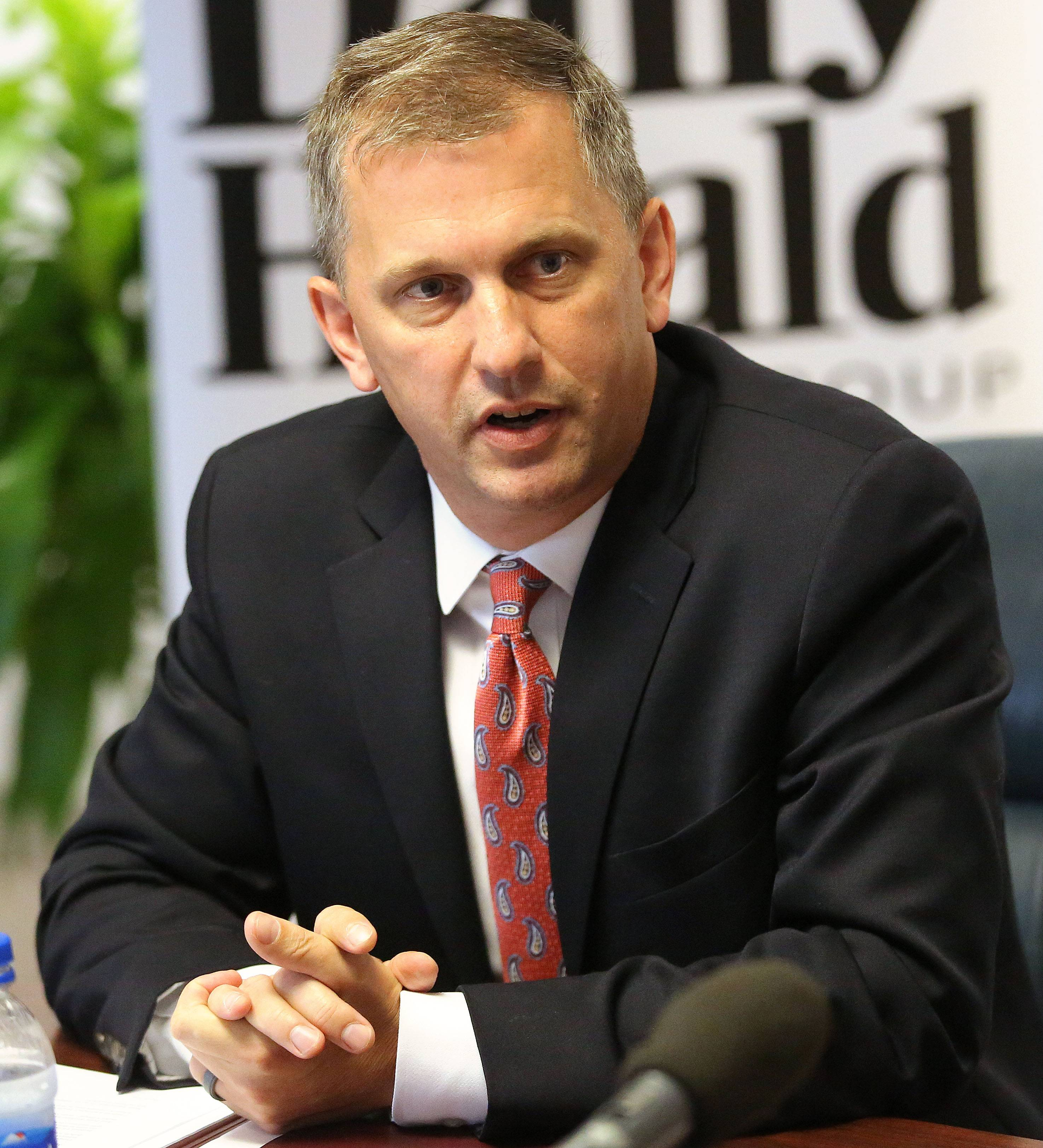 Democrat Sean Casten of Downers Grove, who is running in the 6th Congressional District, expresses concerns about recent tax code changes during a meeting with the Daily Herald editorial board Monday.
