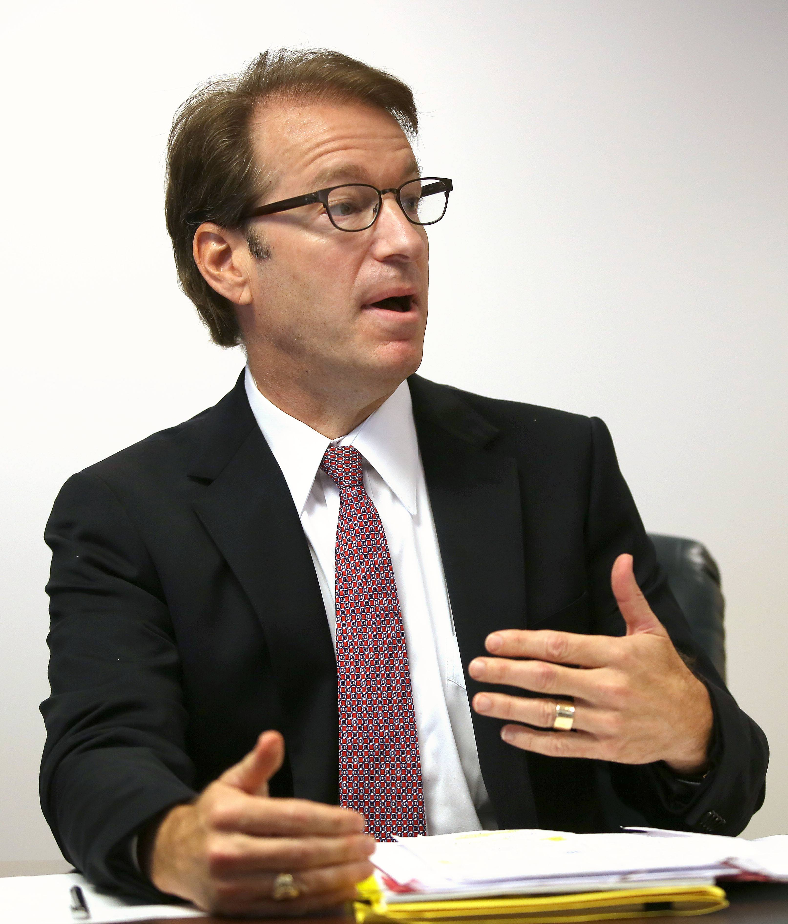 Republican U.S. Rep. Peter Roskam, who is running for re-election in the 6th U.S. Congressional District, speaks during a meeting with the Daily Herald editorial board Monday.