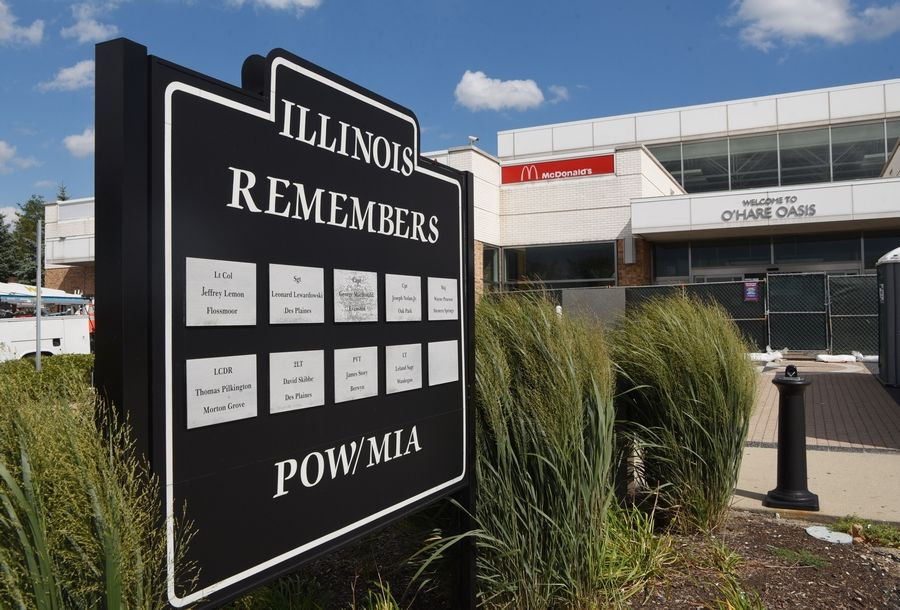 A monument commemorating local servicemen missing in action during the Vietnam War and World War II will remain at the O'Hare oasis despite the demolition of the glass pavilion. It originally was at the Des Plaines oasis.