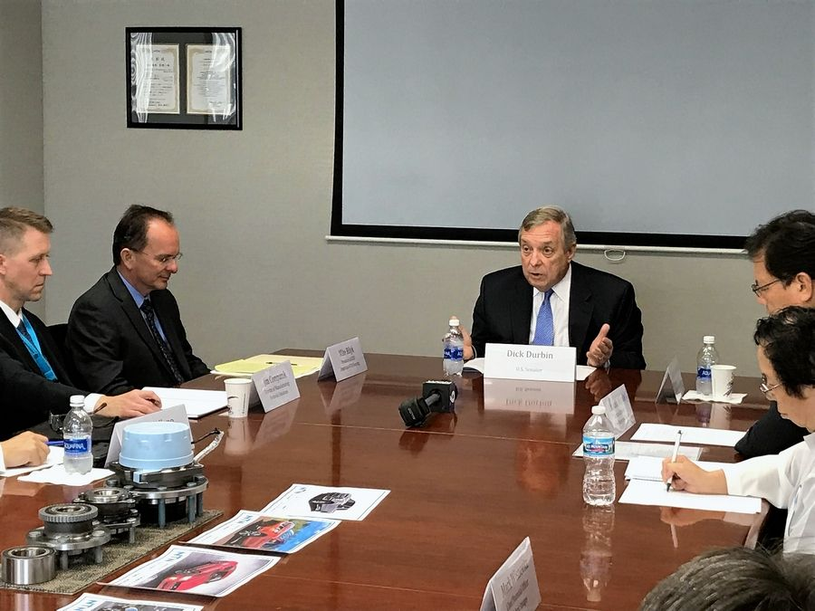 U.S. Sen. Dick Durbin met with Elgin area manufacturers Tuesday to discuss the effects of tariffs on imports of steel and aluminum.