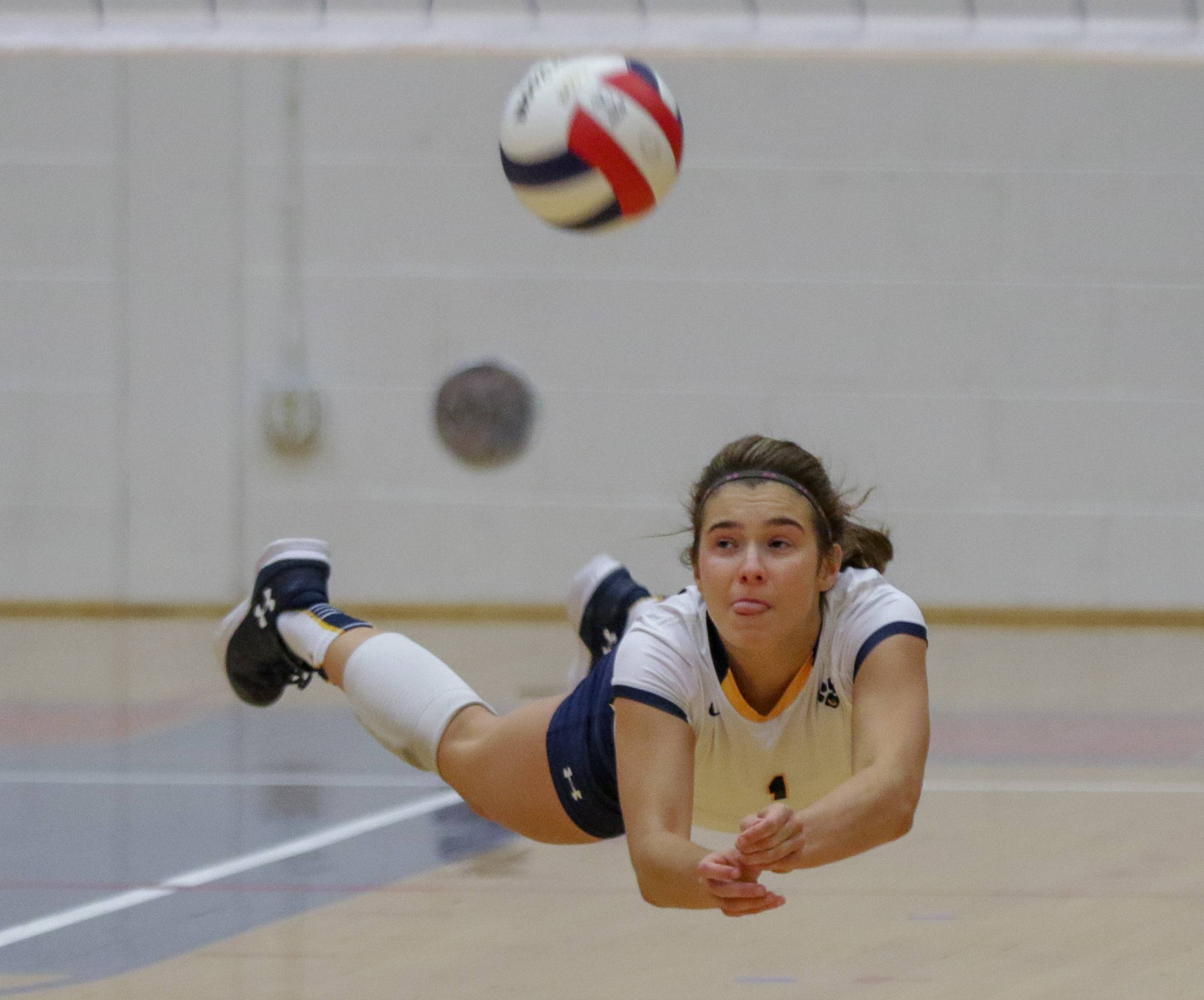 Neuqua Valley's Bailey Houlihan dives for a ball in action against Glenbard South during girls volleyball on Thursday in Glen Ellyn.