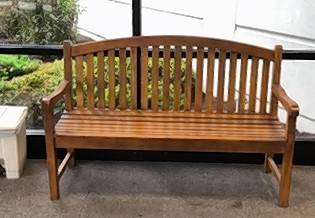 The restored and refinished bench back in place in the lobby area of St. Alexius Medical Center in Hoffman Estates.