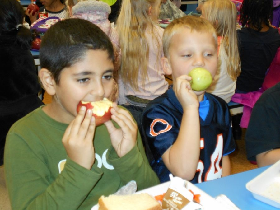More than 600 students from Lombard Elementary School District 44 participate in Apple Crunch Day in 2017.