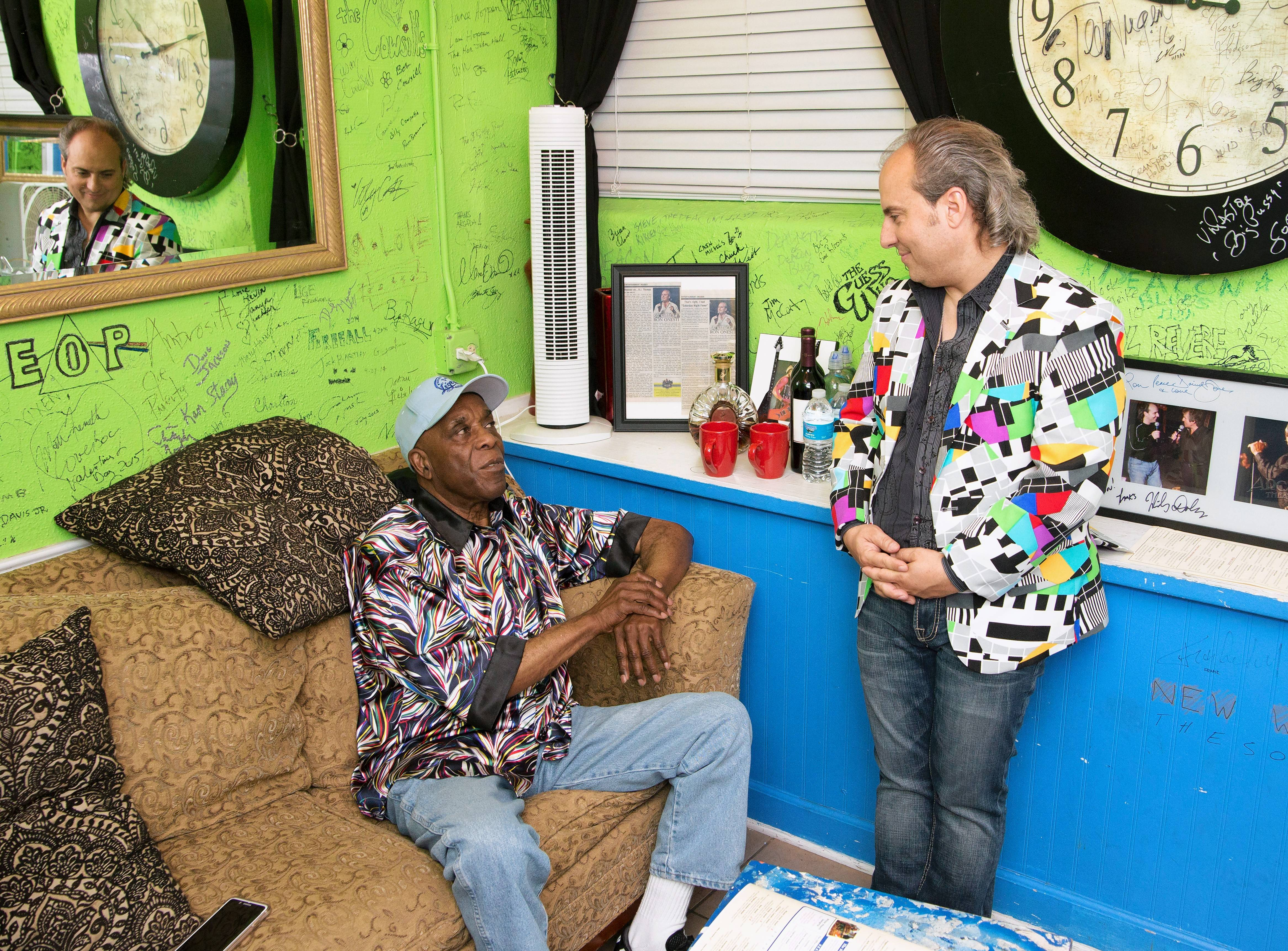 Blues legend Buddy Guy visits with Ron Onesti prior to a previous visit to The Arcada stage. Guy returns Friday, Sept. 14, to perform again at the St. Charles theater.