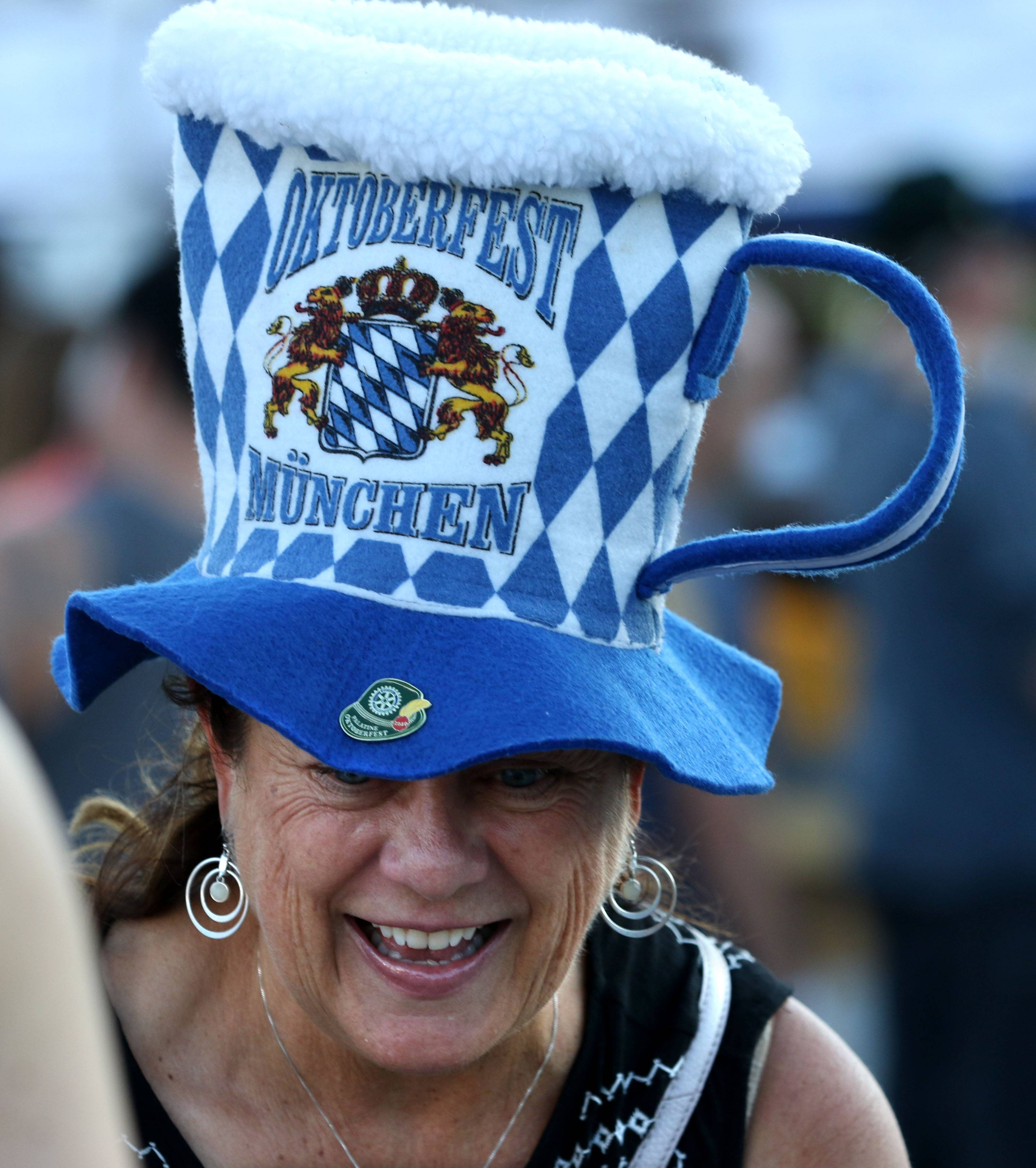 Eileen Wirth of Palatine shares a laugh with others Friday night during the Rotary Club of Palatine's Oktoberfest.