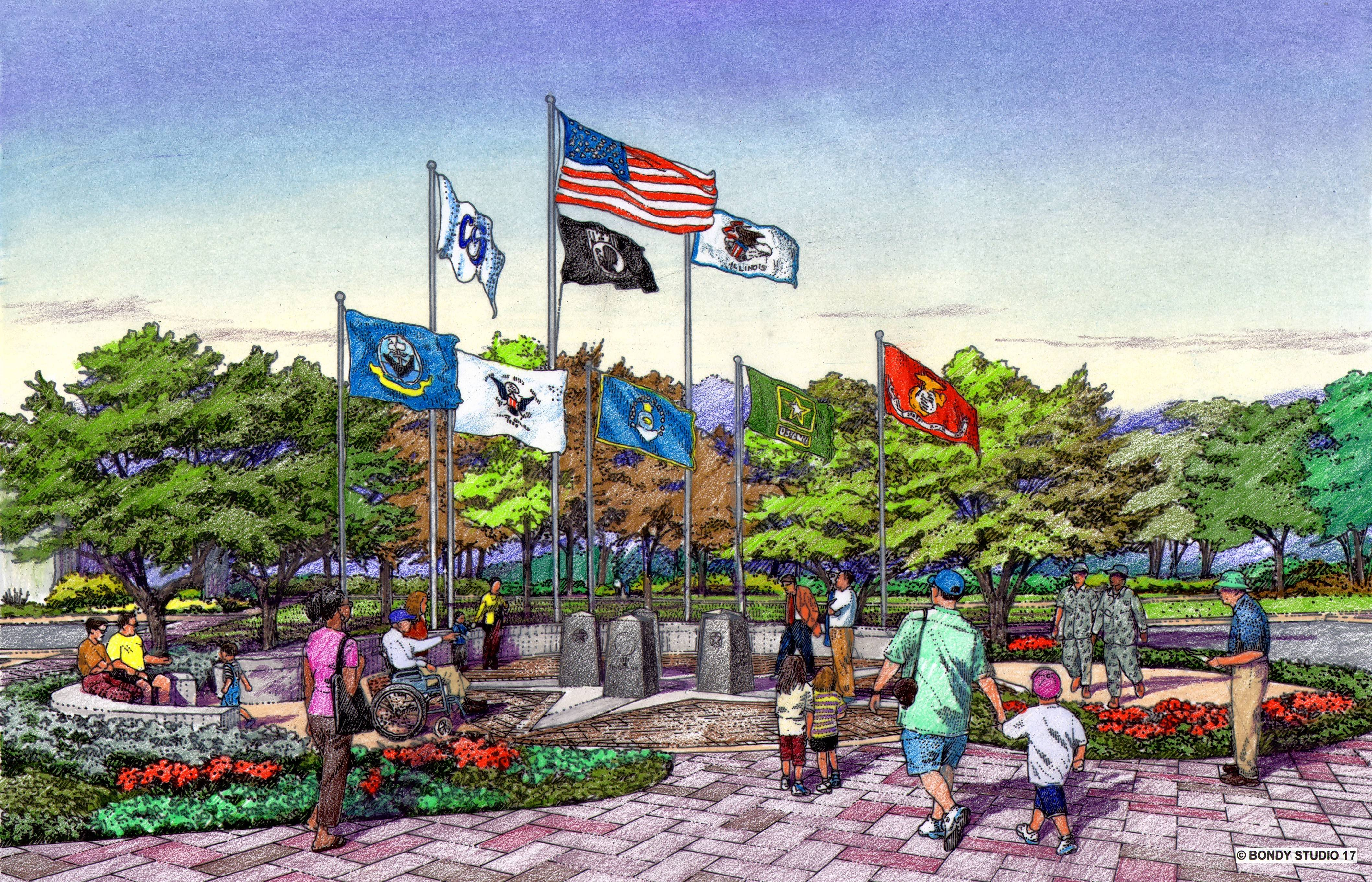 A volunteer task force will break ground on a new Carol Stream veterans memorial at the village-owned Town Center Friday, Sept. 21. The group includes members from the Carol Stream VFW, American Legion, village, park district and chamber of commerce.