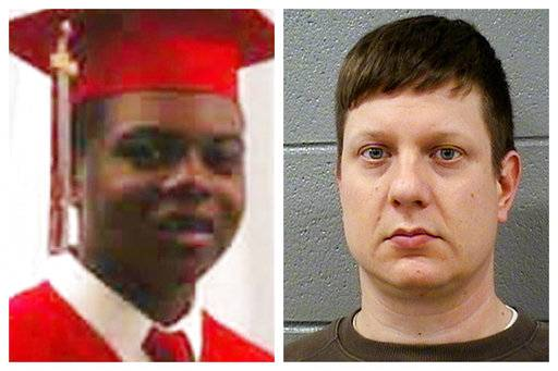This combination of photos shows Laquan McDonald and former Chicago Police Officer Jason Van Dyke. On Monday, Sept. 17, 2018, Van Dyke will go on trial, facing murder charges in the shooting of the 17-year-old. The incident was captured in a dashcam video that led to protests and fueled racial tensions in the city. (Family Photo, Cook County Sheriff's Office via AP)