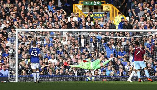 Everton goalie Jordan Pickford fails to stop a shot from West Ham United's Andriy Yarmolenko, not pictured, scoring his side's second goal of the game during their English Premier League soccer match at Goodison Park in Liverpool., England, Sunday Sept. 16, 2018. (Peter Byrne/PA via AP)