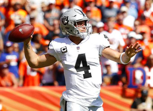 Oakland Raiders quarterback Derek Carr (4) throws against the Denver Broncos during the first half of an NFL football game, Sunday, Sept. 16, 2018, in Denver.